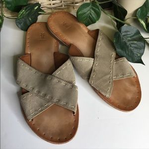 Frye Avery Picstitch Suede Leather Flat Size 10.5